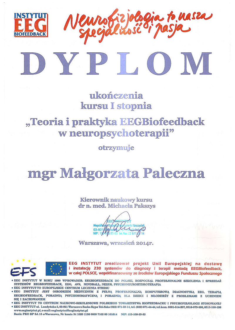 Biofeedback terapia Tarnowskie Góry dyplom